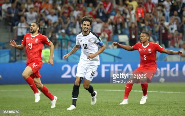Bryan Ruiz of Costa Rica celebrates after scoring a penalty for his team's second goal during the 2018 FIFA World Cup Russia group E match between...
