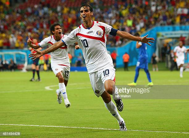 Bryan Ruiz of Costa Rica celebrates scoring his team's first goal during the 2014 FIFA World Cup Brazil Round of 16 match between Costa Rica and...