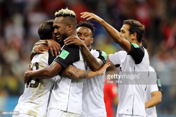 Bryan Ruiz of Costa Rica celebrates with teammate Kendall Waston after scoring his team's second goal during the 2018 FIFA World Cup Russia group E...
