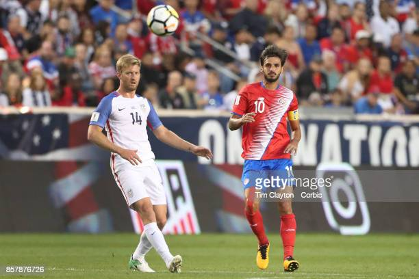 Bryan Ruiz of Costa Rica is challenged by Tim Ream of the United States during the United States Vs Costa Rica CONCACAF International World Cup...