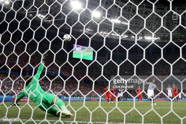 Bryan Ruiz of Costa Rica kicks a penalty which then deflects into the goal off of Yann Sommer of Switzerland during the 2018 FIFA World Cup Russia...