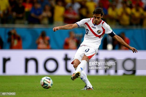 Bryan Ruiz of Costa Rica kicks in a penalty shootout before being saved during the 2014 FIFA World Cup Brazil Quarter Final match between Netherlands...