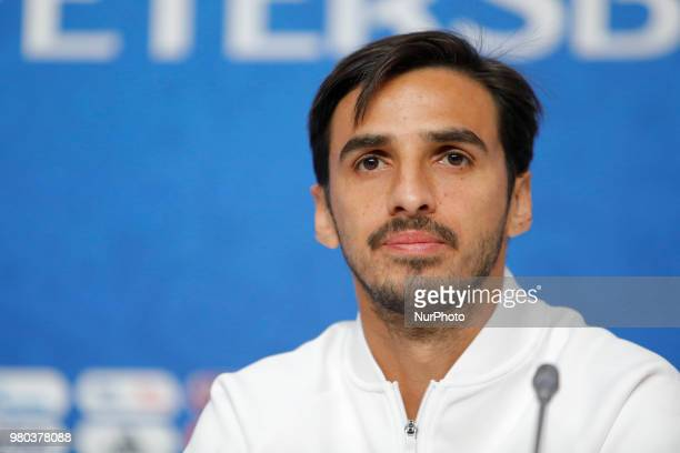 Bryan Ruiz of Costa Rica national team attends a press conference during the FIFA World Cup 2018 on June 21, 2018 at Saint Petersburg Stadium in...