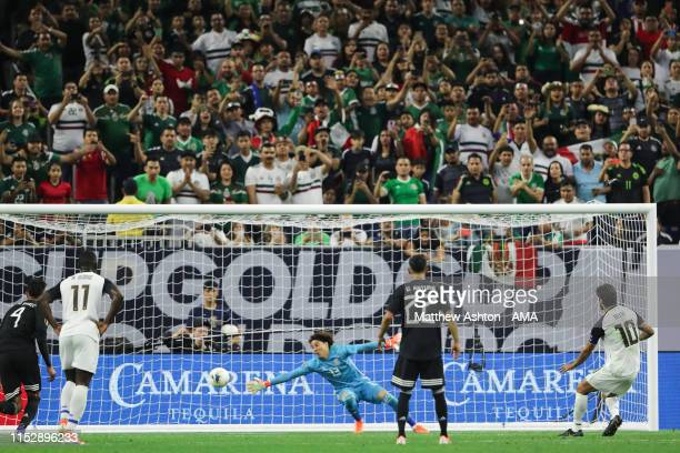 Bryan Ruiz of Costa Rica scores a goal to make it 1-1 during the 2019 CONCACAF Gold Cup Quarter Final match between Mexico v Costa Rica at NRG...