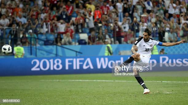 Bryan Ruiz of Costa Rica scores a penalty for his team's second goal during the 2018 FIFA World Cup Russia group E match between Switzerland and...