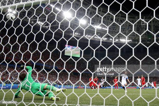 Bryan Ruiz of Costa Rica scores a penalty past Yann Sommer of Switzerland for his team's second goal during the 2018 FIFA World Cup Russia group E...