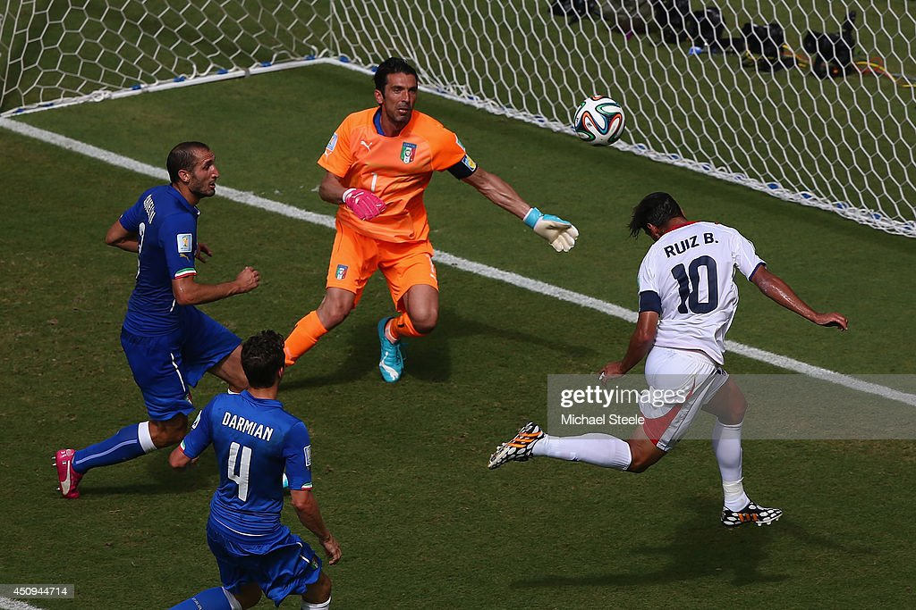 Bryan Ruiz of Costa Rica scores his team's first goal past Gianluigi Buffon of Italy during the 2014 FIFA World Cup Brazil Group D match between Italy and Costa Rica at Arena Pernambuco on June 20, 2014 in Recife, Brazil.