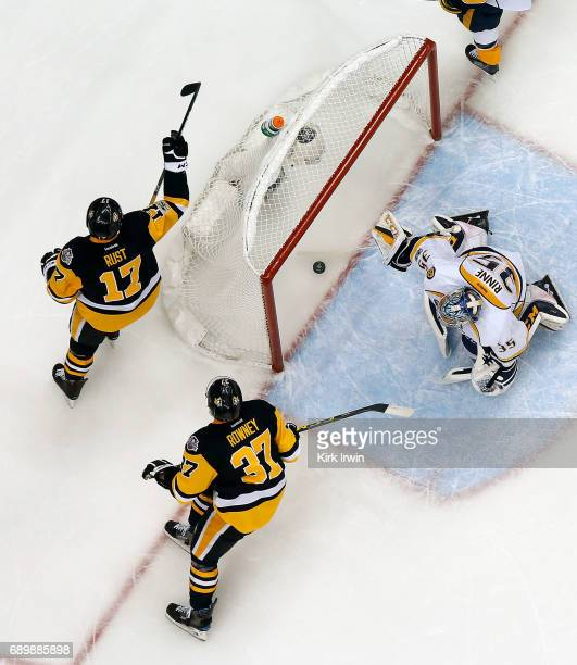 Bryan Rust of the Pittsburgh Penguins celebrates a goal past Pekka Rinne of the Nashville Predators in Game One of the 2017 NHL Stanley Cup Final at...