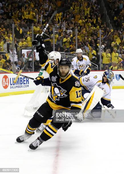 Bryan Rust of the Pittsburgh Penguins celebrates after scoring a goal in the first period against the Nashville Predators in Game Five of the 2017...