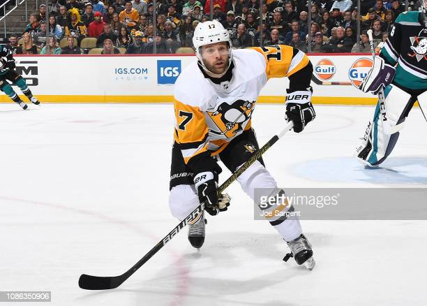 Bryan Rust of the Pittsburgh Penguins skates against the Anaheim Ducks at PPG Paints Arena on December 17 2018 in Pittsburgh Pennsylvania