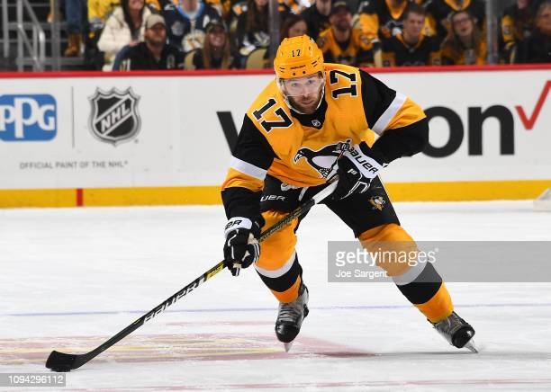Bryan Rust of the Pittsburgh Penguins skates against the Florida Panthers at PPG Paints Arena on January 8 2019 in Pittsburgh Pennsylvania