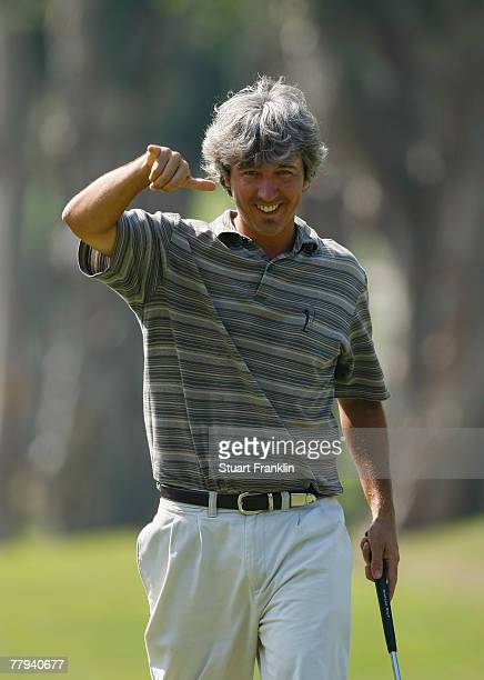 Bryan Saltus of USA celebrates his birdie putt on the nineth hole during the second round of the UBS Hong Kong Open at the Hong Kong Golf Club on...