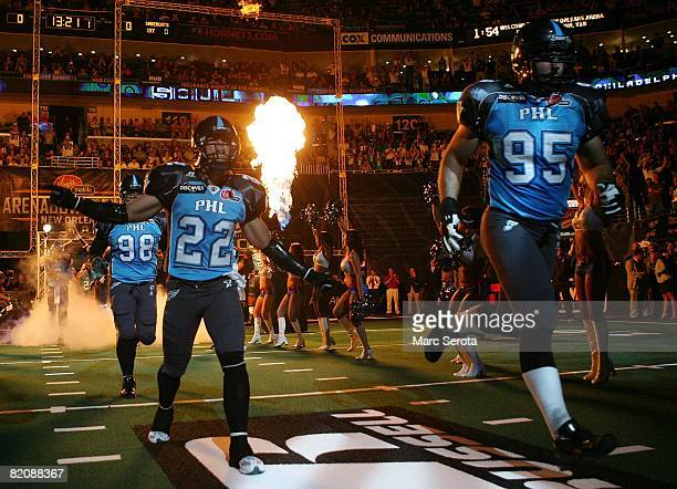 Bryan Save Rob Keefe and Kevin Carberry of the Philadelphia Soul enter the field at the start of Arena Bowl XXII against the San Jose SaberCats at...