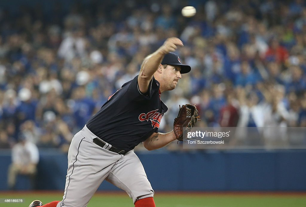Bryan Shaw #27 of the Cleveland Indians delivers a pitch in the ninth inning during MLB game action against the Toronto Blue Jays on September 1, 2015 at Rogers Centre in Toronto, Ontario, Canada.