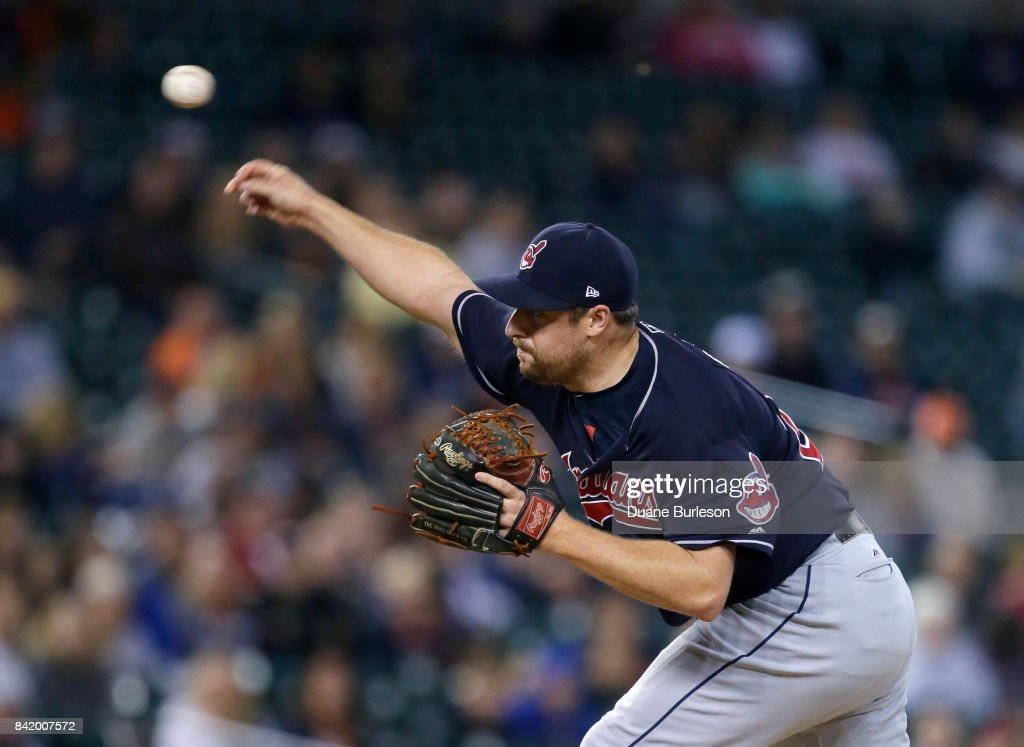 Bryan Shaw #27 of the Cleveland Indians pitches against the Detroit Tigers during the ninth inning at Comerica Park on September 2, 2017 in Detroit, Michigan. The Indians defeated the Tigers 5-2.