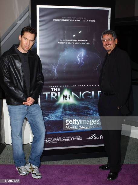 Bryan Singer and Dean Devlin during The SciFi Channel's Miniseries The Triangle Premiere at Pacific Design Center in West Hollywood California United...
