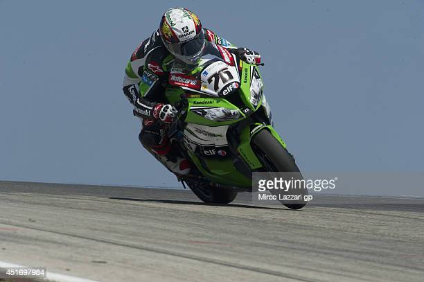 Bryan Staring of Australia and Iron Brain Grillini Kawasaki heads down a straight during the FIM Superbike World Championship Free Practice at...