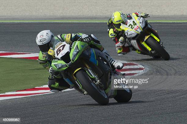 Bryan Staring of Australia and Iron Brain Grillini Kawasaki leads Toni Elias of Spain and Red Devils Roma during the FIM Superbike World Championship...