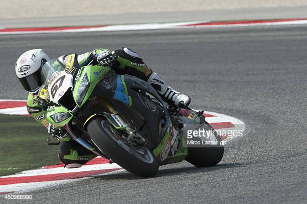 Bryan Staring of Australia and Iron Brain Grillini Kawasaki rounds the bend during the FIM Superbike World Championship Qualifying at Misano World...