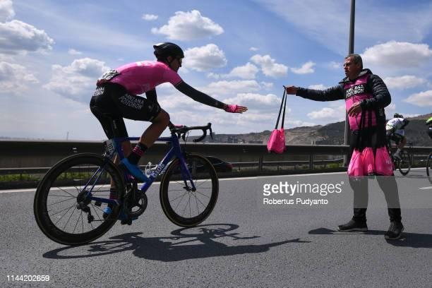 Bryan Steve Gomez Penaloza of Manzana Postobon Team grabs drinks bottles during Stage 6 of the 55th Presidential Cycling Tour of Turkey 2019 Sakarya...