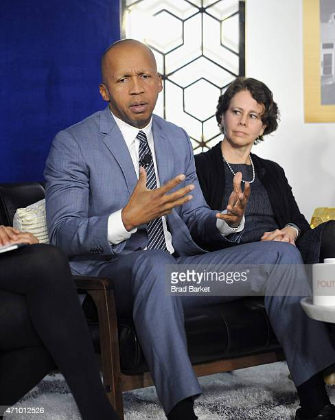 Bryan Stevenson and Cecilia Munoz speak onstage at An Evening With John Legend hosted by POLITICO to kickoff White House Correspondents' weekend at...