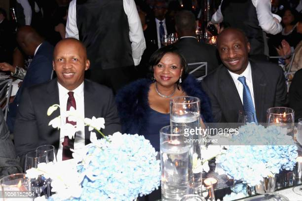 Bryan Stevenson Andrea Frazier and Kenneth Frazier pose at the NAACP LDF 32nd National Equal Justice Awards Dinner at The Ziegfeld Ballroom on...