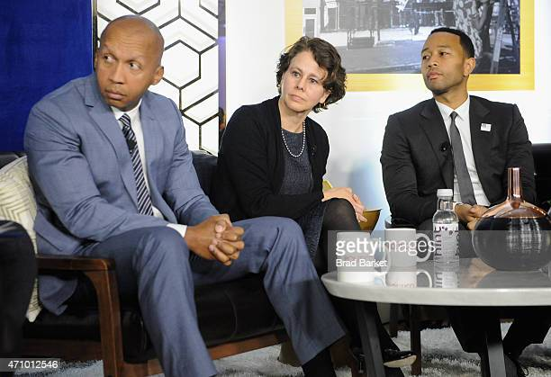 Bryan Stevenson Cecilia Munoz and John Legend speak onstage at An Evening With John Legend hosted by POLITICO to kickoff White House Correspondents'...