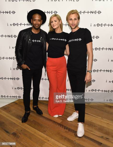 Bryan Terrell Clark Amanda Cole and Robert Reader attends inDEFINED NYC PopUp Shop at The Phluid Project on April 30 2018 in New York City
