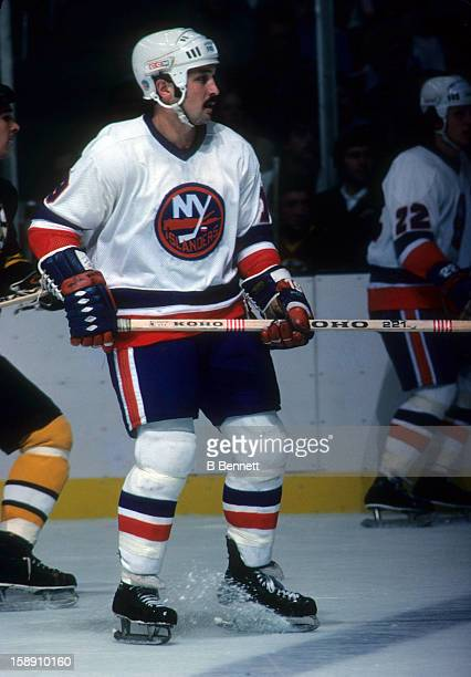 Bryan Trottier of the New York Islanders skates on the ice during an NHL game against the Boston Bruins on October 15 1977 at the Nassau Coliseum in...