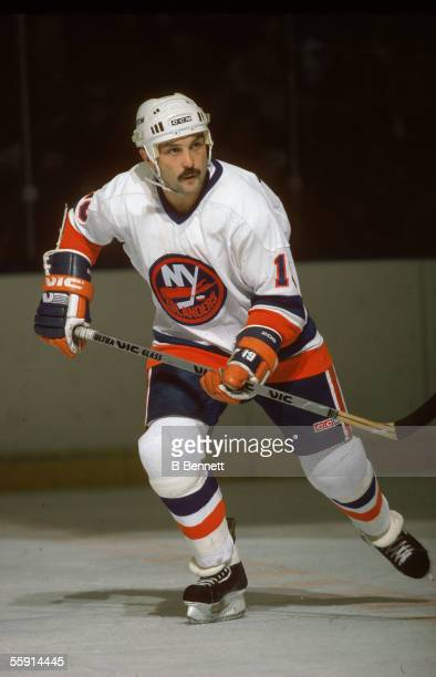 Bryan Trottier of the New York Islanders skates on the ice during an NHL game circa 1980's at the Nassau Coliseum in Uniondale, New York.