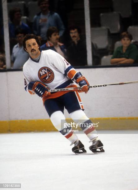 Bryan Trottier of the New York Islanders warmsup before an NHL preseason game in September 1982 at the Nassau Coliseum in Uniondale New York