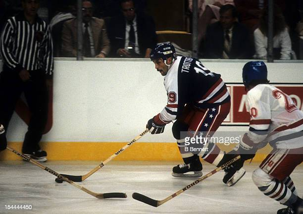 Bryan Trottier of the United States skates on the ice during a 1984 Canada Cup Round Robin game against Czechoslovakia on September 6 1984 at the...