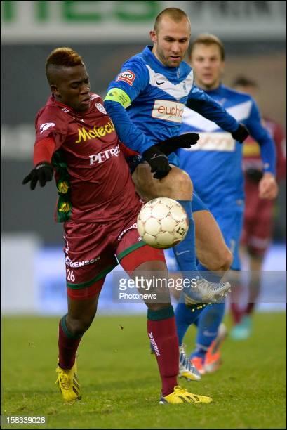 Bryan Verboom of Zulte-Waregem battles for the ball with Thomas Buffel of KRC Genk during the Cofidis Cup 1/4 final away match between SV Zulte...