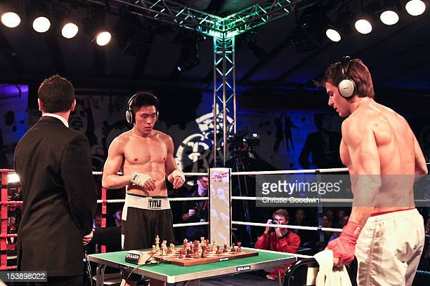 Bryan Woon and Sean Mooney in action during the first ever Battle Royale chessboxing event held at Royal Albert Hall on October 10 2012 in London...