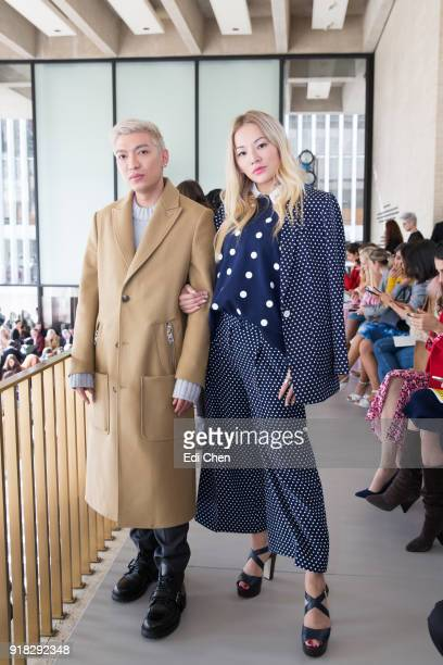 Bryan Yambao and Tina Leung attends the Michael Kors Collection Fall 2018 Runway Show at the Vivian Beaumont Theatre on February 14 2018 in New York...