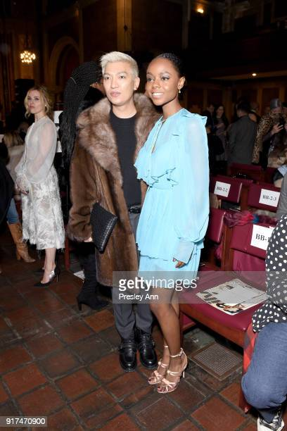 Bryanboy and Ashleigh Murray attend the Dennis Basso Fall/Winter 2018 Collection Runway Show at Saint Bart's Church on February 12 2018 in New York...