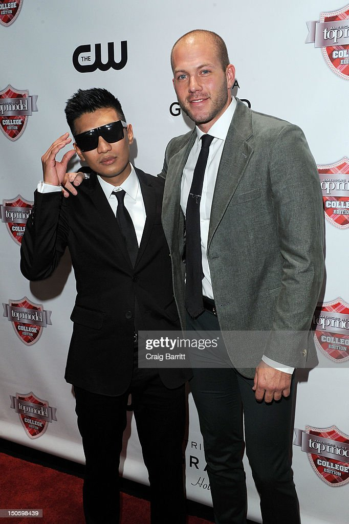 Bryanboy and Johnny Wujek attends the 'America's Next Top Model: College Edition, Cycle 19' Premiere at the Tribeca Grand Hotel on August 22, 2012 in New York City.