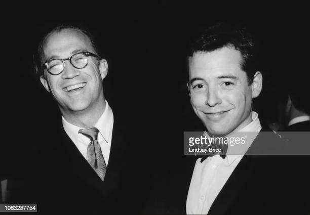 Bryand Lourd and Matthew Broderick pause for a photograph at the ACLU of Southern California Bill of Rights Dinner at the Sheraton Universal Hotel on...