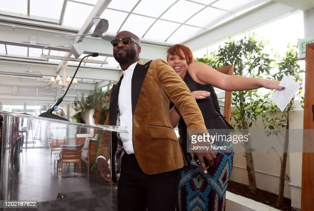 BryanMichael Cox and Angela Mack appear onstage at the Bryan Michael Cox 16th Annual Music And Memory PreGrammy Brunch 2020 at SLS Hotel on January...