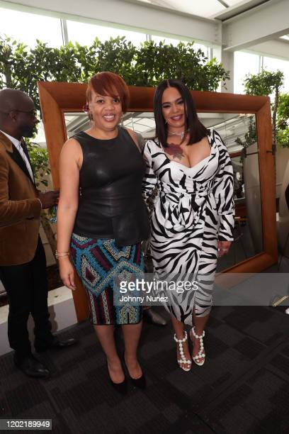 BryanMichael Cox Angela Mack and Faith Evans attend the Bryan Michael Cox 16th Annual Music And Memory PreGrammy Brunch 2020 at SLS Hotel on January...