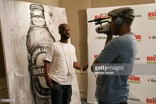BryanMichael Cox interviews at the Heineken Announces Lineup for Heineken Red Star Soul at the Four Seasons Hotel on June 23 2008 in Los Angeles...