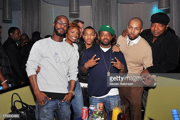 BryanMichael Cox Kandi Burruss Bow Wow Jermaine Dupri Guest Drumma Boy and Michael Mauldin attend Bow Wow FAST LIFE Album Release Party at AquaKnox...
