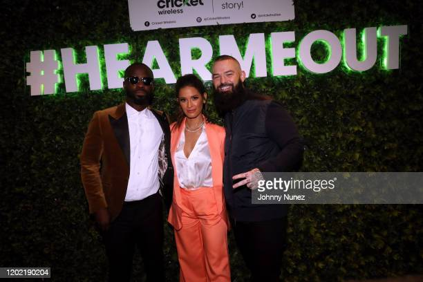 BryanMichael Cox Rocsi Diaz and Paul Wall attend the Bryan Michael Cox 16th Annual Music And Memory PreGrammy Brunch 2020 at SLS Hotel on January 26...
