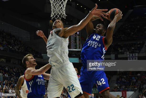 Bryant Dunston #42 of Anadolu Efes and Walter Tavares #22 of Real Madrid in action during the 2017/2018 Turkish Airlines EuroLeague Regular Season...