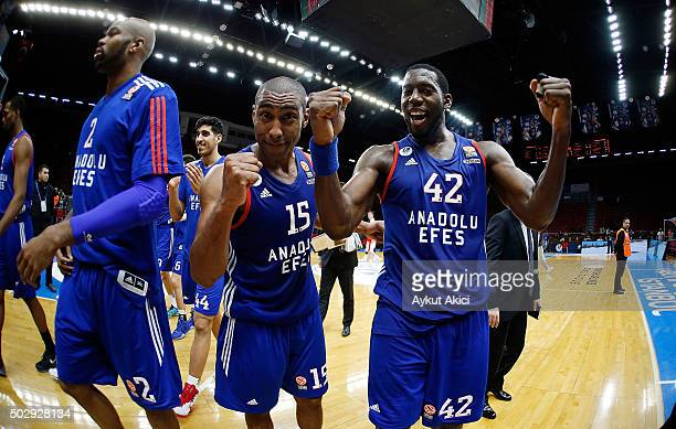 Bryant Dunston #42 of Anadolu Efes Istanbul and Jayson Granger #15 of Anadolu Efes Istanbul celebrate victory during the Turkish Airlines Euroleague...