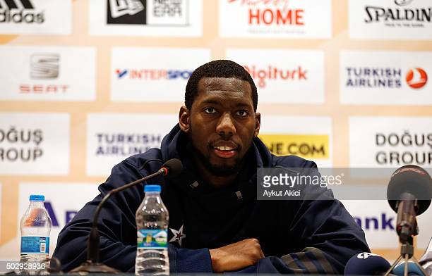 Bryant Dunston #42 of Anadolu Efes Istanbul answers questions from the media at press conference prior to the Turkish Airlines Euroleague Basketball...