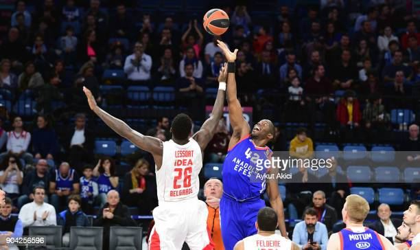 Bryant Dunston #42 of Anadolu Efes Istanbul competes with Mathias Lessort #26 of Crvena Zvezda mts Belgrade during the 2017/2018 Turkish Airlines...