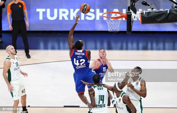 Bryant Dunston #42 of Anadolu Efes Istanbul in action during the 2017/2018 Turkish Airlines EuroLeague Regular Season Round 8 game between Anadolu...