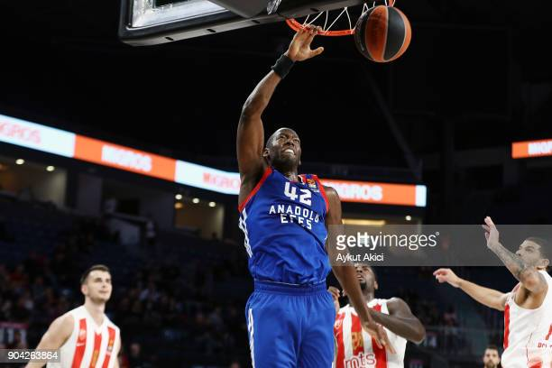 Bryant Dunston #42 of Anadolu Efes Istanbul in action during the 2017/2018 Turkish Airlines EuroLeague Regular Season Round 17 game between Anadolu...