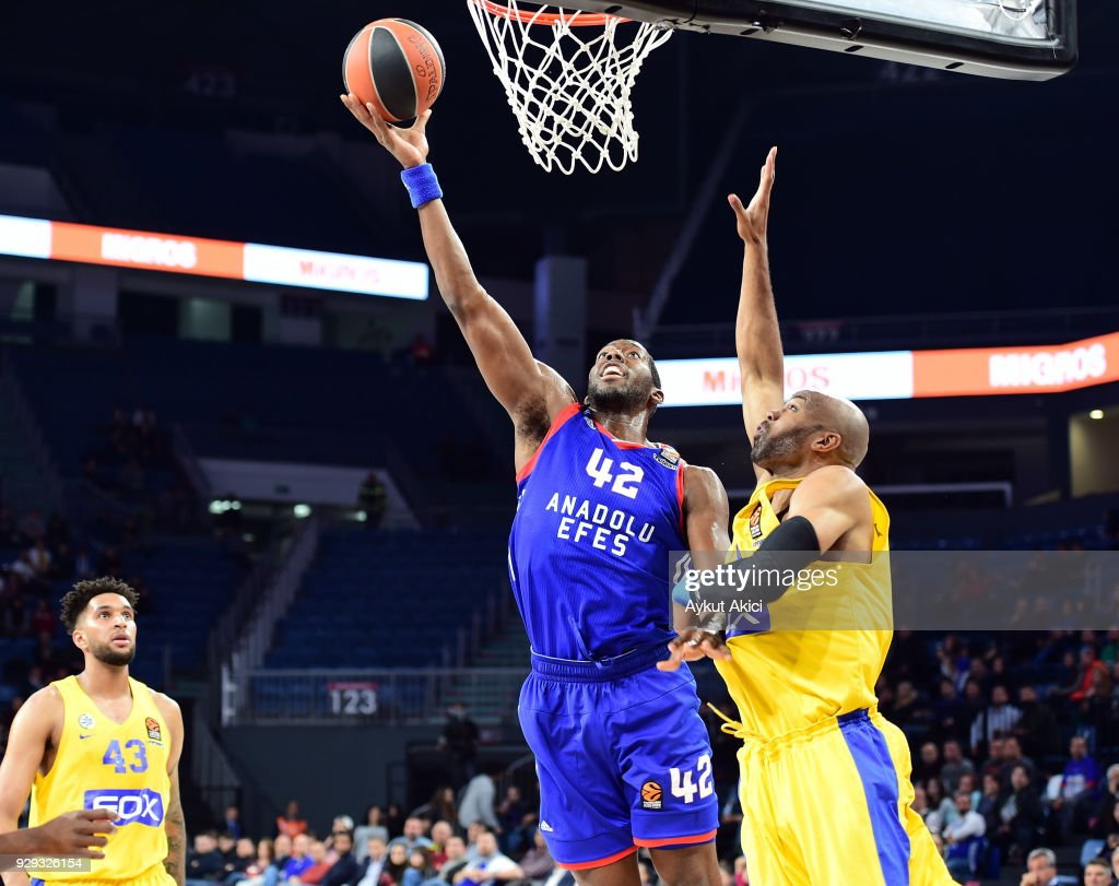 Bryant Dunston, #42 of Anadolu Efes Istanbul in action during the 2017/2018 Turkish Airlines EuroLeague Regular Season Round 25 game between Anadolu Efes Istanbul and Maccabi Fox Tel Aviv at Sinan Erdem Dome on March 8, 2018 in Istanbul, Turkey.
